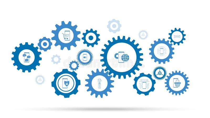 icona globale dell'aggiornamento dello smartphone Dall'insieme mobile di concetto illustrazione di stock