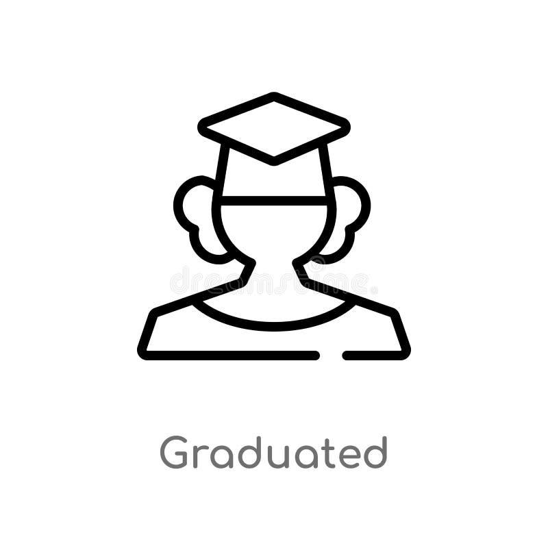 icona graduata di vettore del profilo linea semplice nera isolata illustrazione dell'elemento dal concetto di istruzione e di gra illustrazione di stock