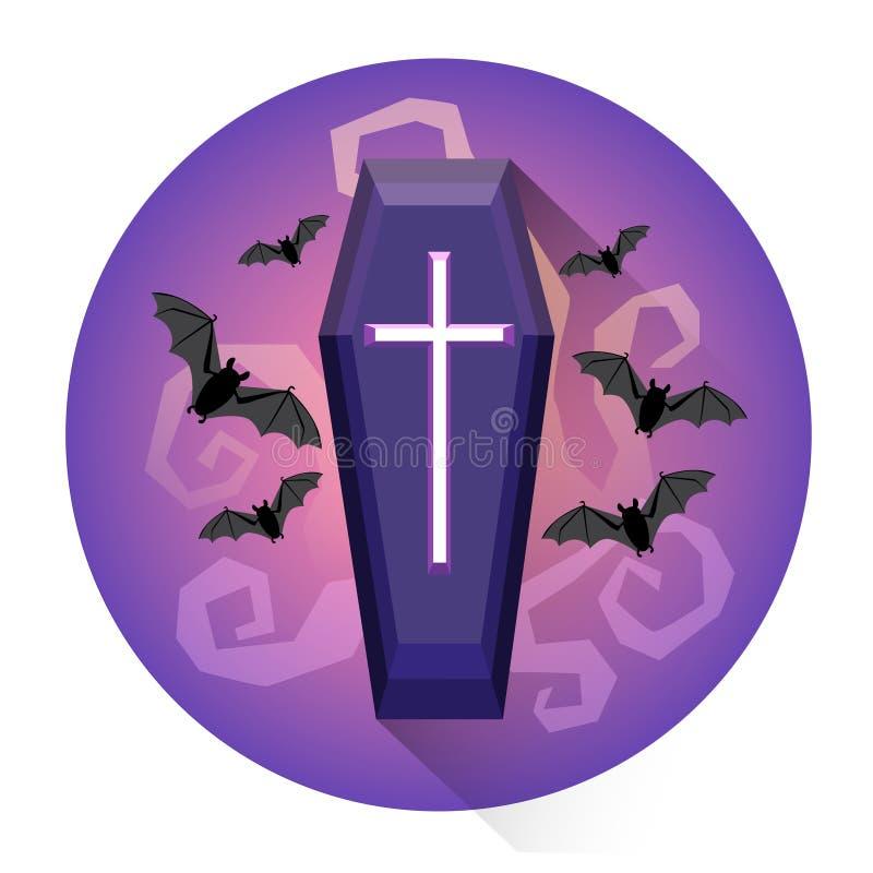 Icona grave di festa di Halloween del cimitero della bara illustrazione di stock
