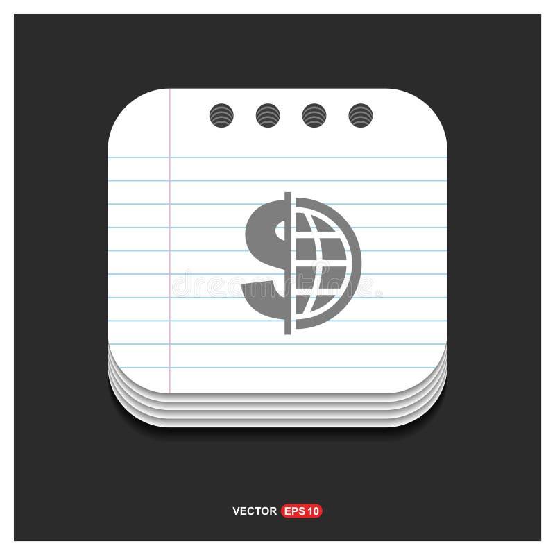 Icona grigia dell'icona di valuta del mondo sul vettore E del modello di stile del blocco note royalty illustrazione gratis
