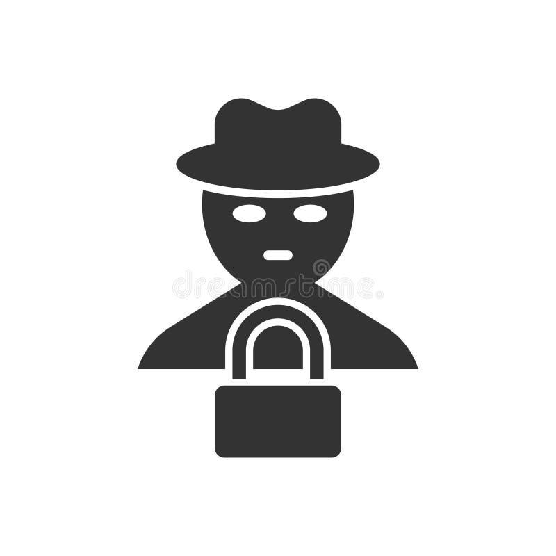 Icona hacker truffa in stile piatto Illustrazione vettoriale di spionaggio su sfondo isolato Il concetto di business per la difes illustrazione di stock