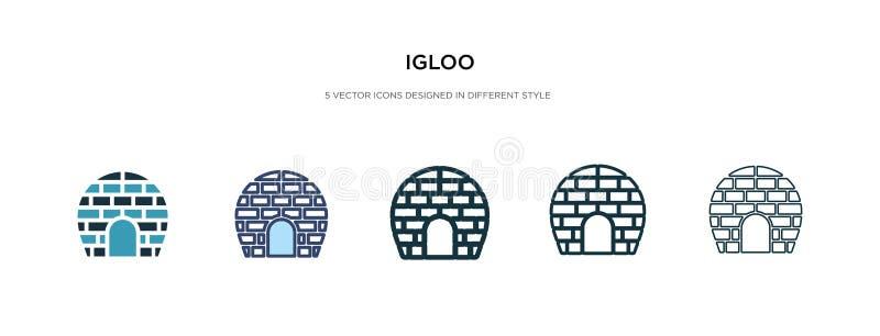 Icona Igloo nella diversa illustrazione vettoriale di stile due icone del vettore igloo colorate e nere progettate in modalità ri illustrazione di stock