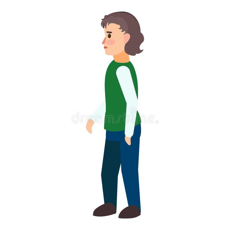 Icona immigrata del ragazzo, stile piano illustrazione vettoriale