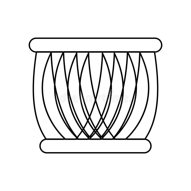 Icona indiana del tamburo Elemento dell'India per il concetto e l'icona mobili dei apps di web _profilo, sottile linea icona per  illustrazione vettoriale