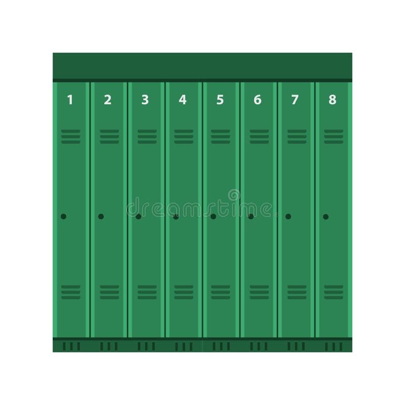 Icona industriale della scatola della porta del metallo di vettore dell'armadio Insieme d'acciaio di stoccaggio dell'elemento di  illustrazione vettoriale