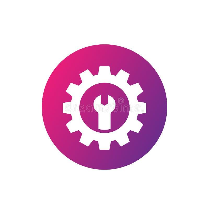 Icona, ingranaggio e chiave di servizio di riparazione illustrazione di stock