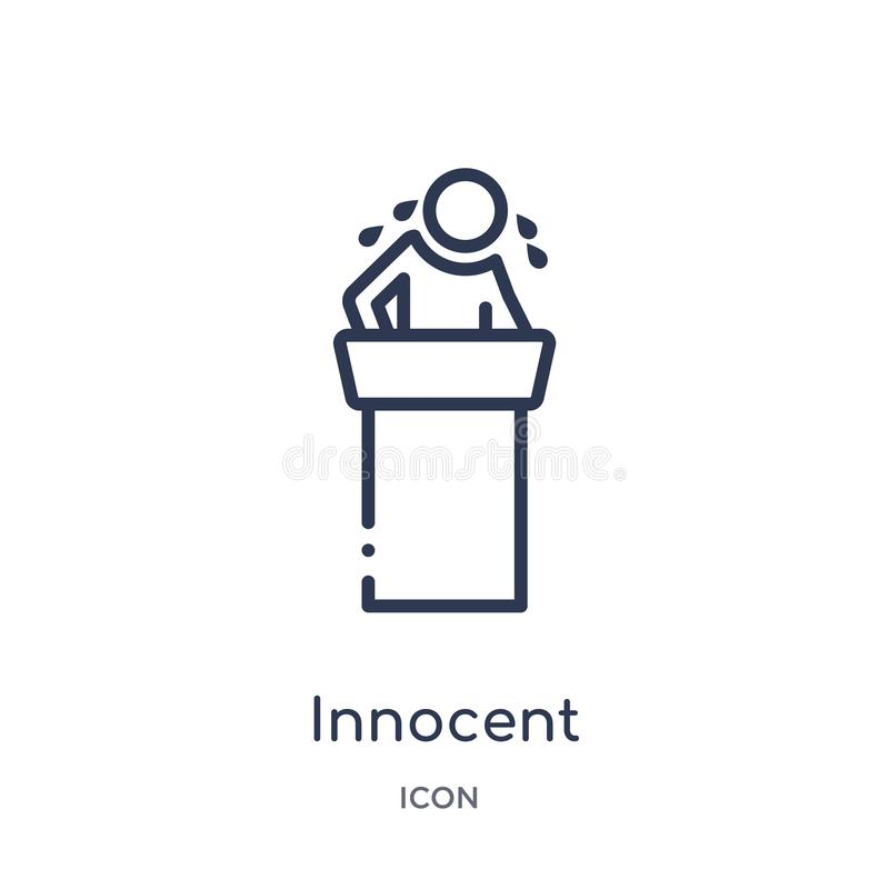 Icona innocente lineare dalla raccolta del profilo della giustizia e di legge Linea sottile icona innocente isolata su fondo bian illustrazione vettoriale