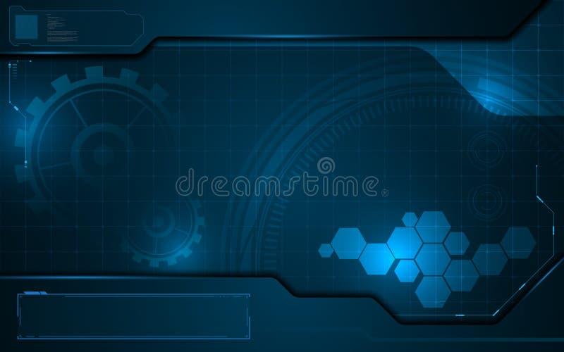 Icona interattiva di tecnologia astratta sul fondo digitale di concetto dell'innovazione del modello illustrazione vettoriale