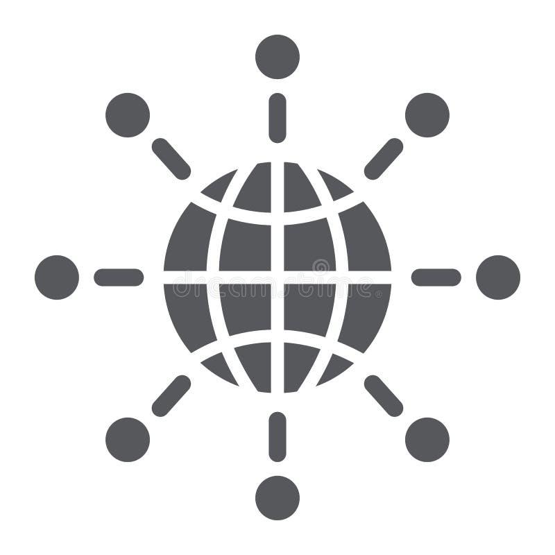 Icona internazionale di glifo di comunicazione, mondo e collegarsi, segno globale del collegamento, grafica vettoriale, un modell illustrazione vettoriale