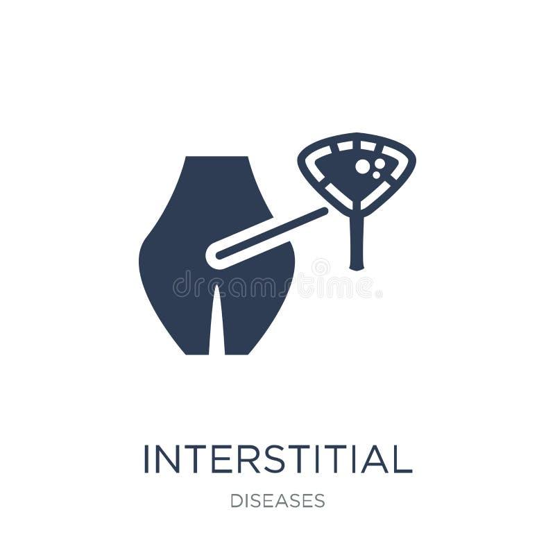Icona interstiziale di cistite Ciste interstiziale di vettore piano d'avanguardia illustrazione di stock