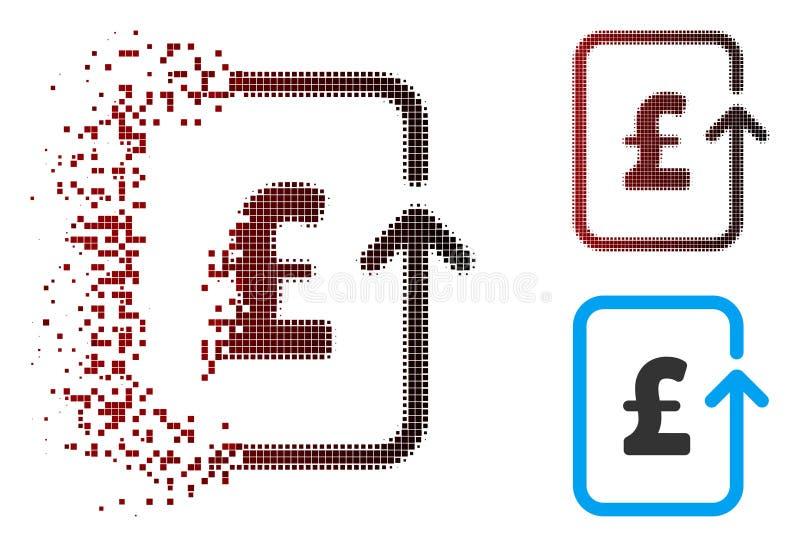 Icona inversa di semitono dispersa di transazione della libbra del pixel illustrazione di stock