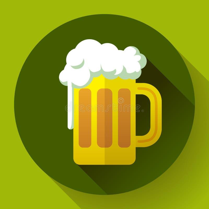 Icona irlandese di vettore di simbolo di giorno della st Patricks della birra di zenzero Stile progettato piano illustrazione vettoriale