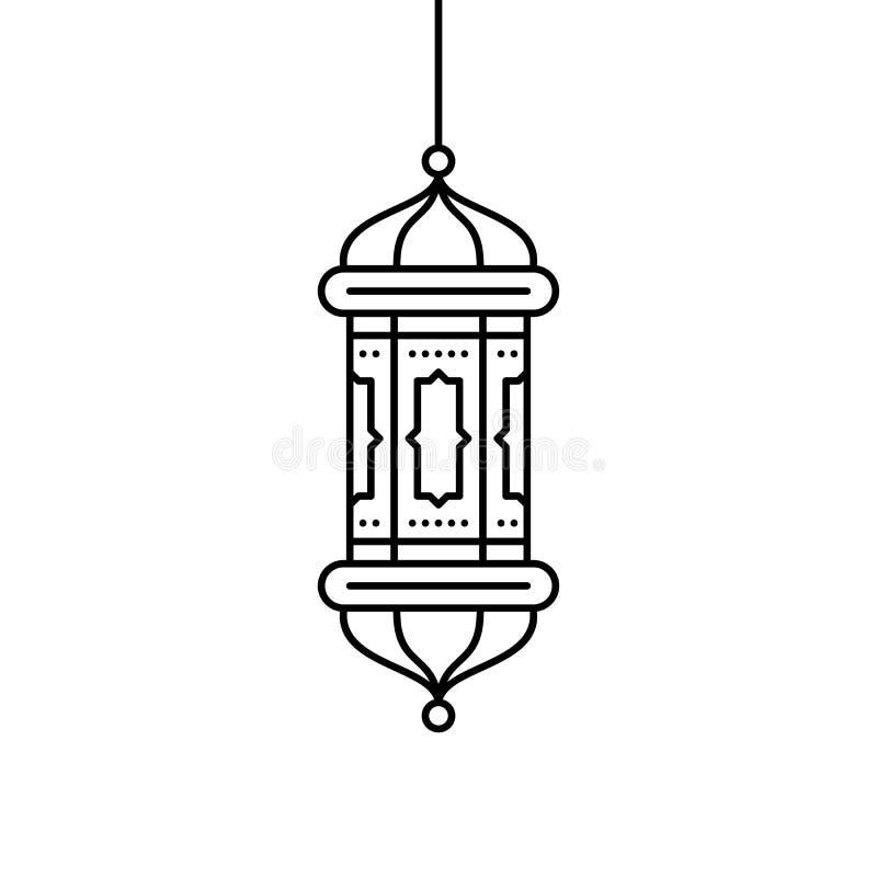 icona islamica del profilo della lanterna illustrazione di stock