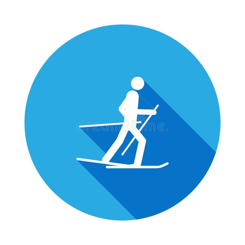 Icona isolata atleta dello sciatore della siluetta con ombra lunga I giochi degli sport invernali disciplinano i segni ed i simbo illustrazione di stock