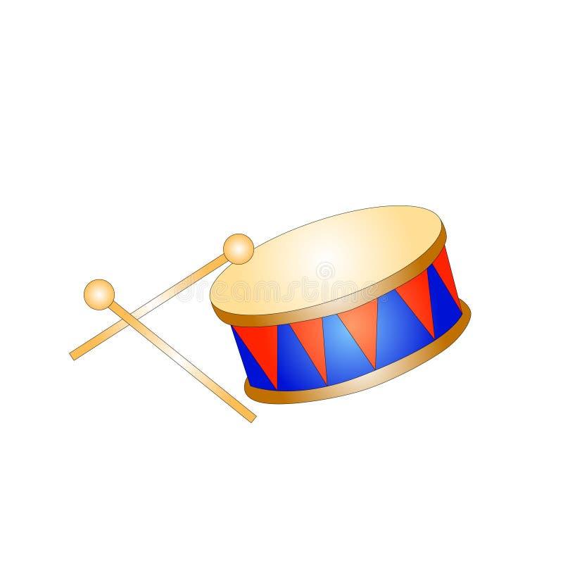 Icona isolata bambino del giocattolo del tamburo royalty illustrazione gratis