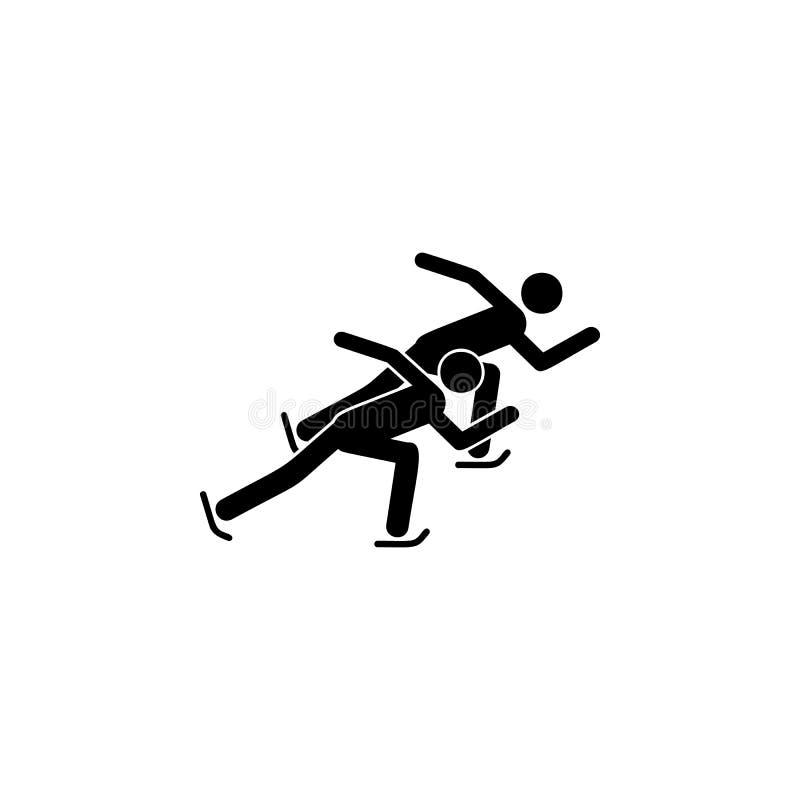 Icona isolata breve atleta di pattinaggio di velocità della pista della siluetta Disciplina dei giochi degli sport invernali Illu royalty illustrazione gratis