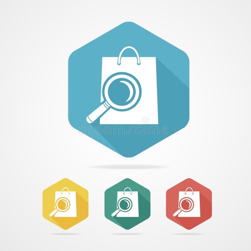 Icona isolata del sacchetto della spesa con una lente illustrazione di stock