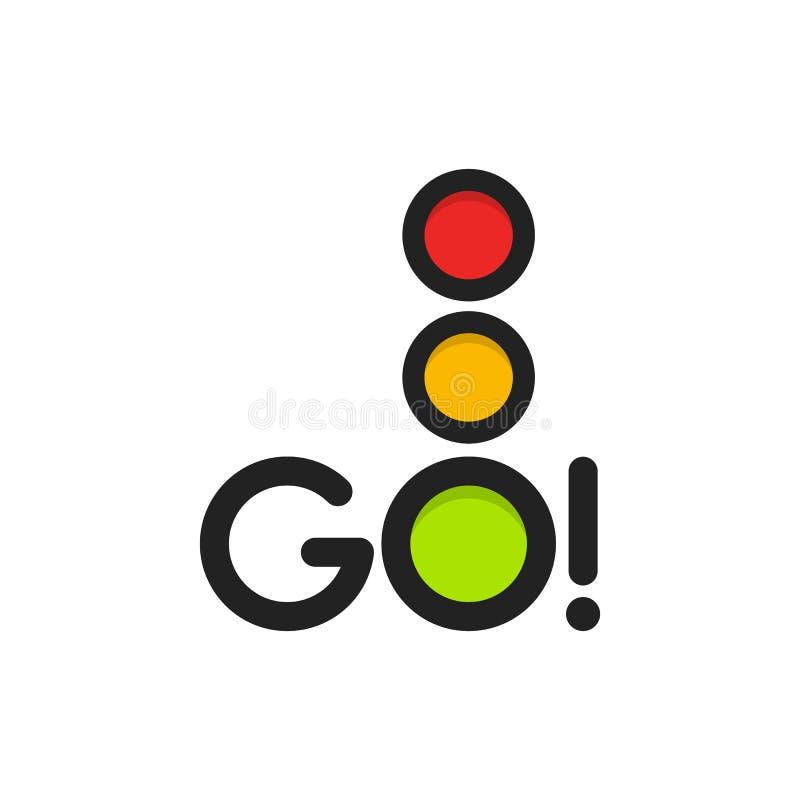 Icona isolata del semaforo Illustrazione di vettore della luce verde L'intersezione della strada, il segno di regolamento, codice illustrazione di stock