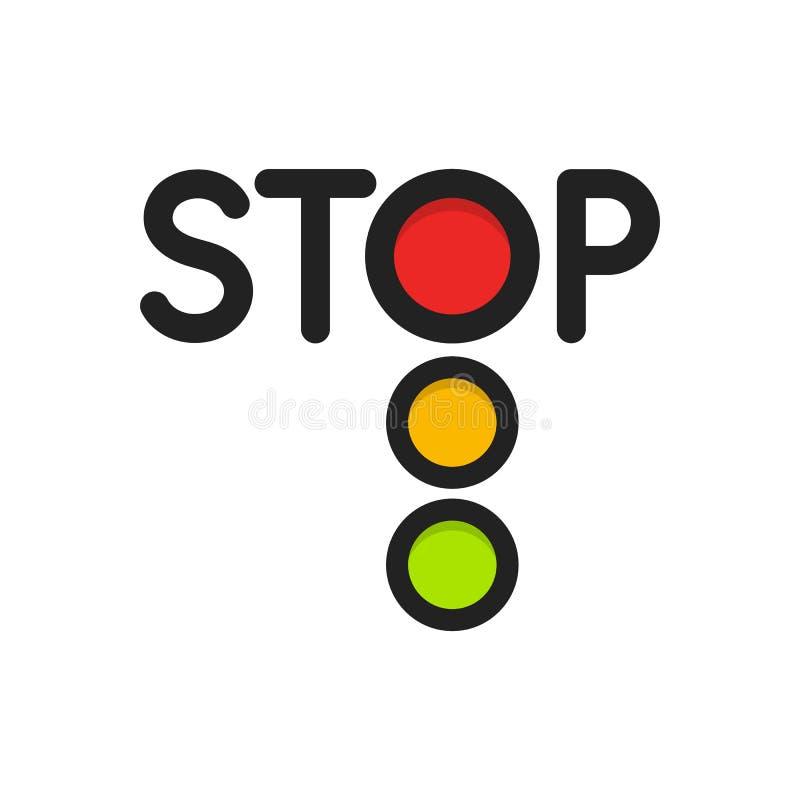 Icona isolata del semaforo Luci rosse, segnale di arresto dell'illustrazione di vettore del semaforo su fondo bianco Strada illustrazione vettoriale