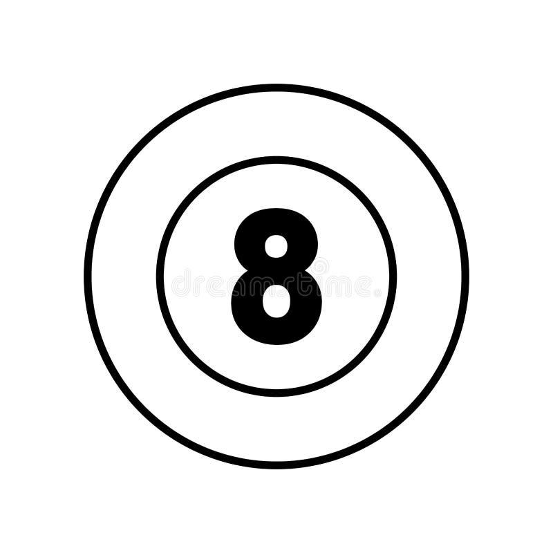 Icona isolata della palla da biliardo otto illustrazione vettoriale