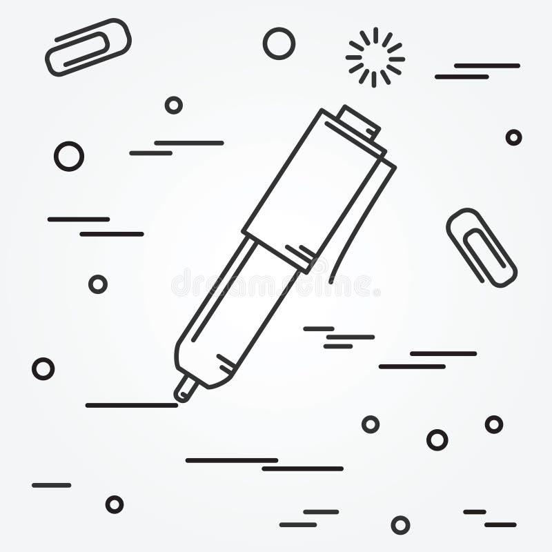 Icona isolata della penna di palla Vettore isolato dell'icona della penna di palla royalty illustrazione gratis