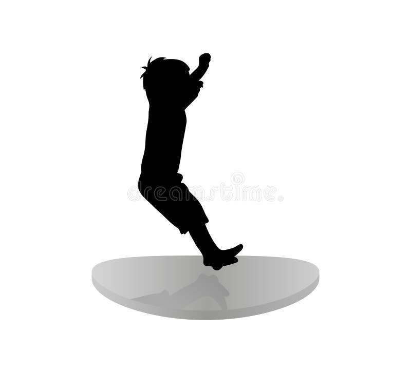Icona isolata della siluetta nera del bambino di salto sul trampolino Priorit? bassa bianca illustrazione di stock