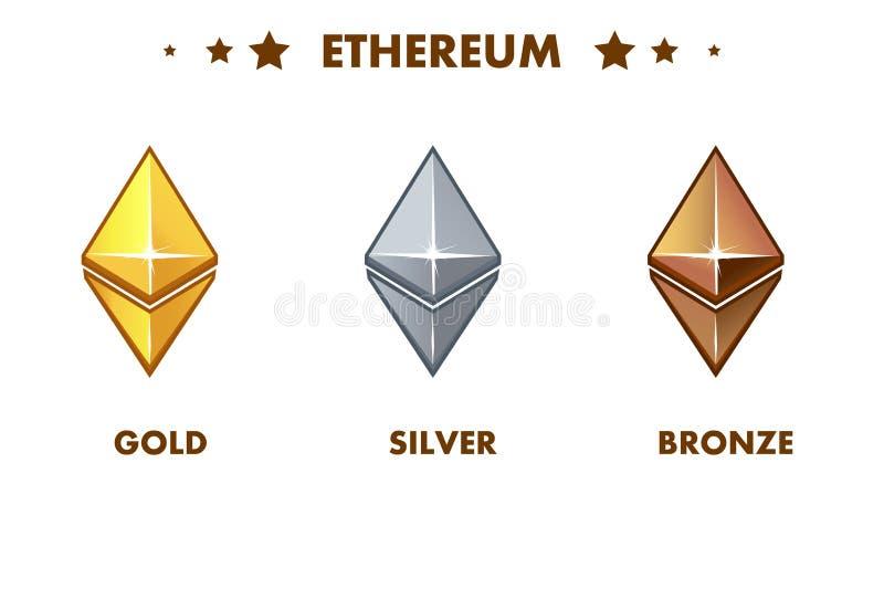 Icona isolata di ethereum dell'oro, dell'argento e del bronzo Digital o contanti elettronici virtuali e di valuta illustrazione vettoriale