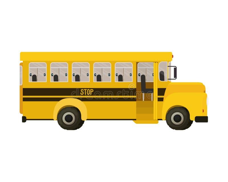 Icona isolata gialla di colore dello scuolabus illustrazione di stock