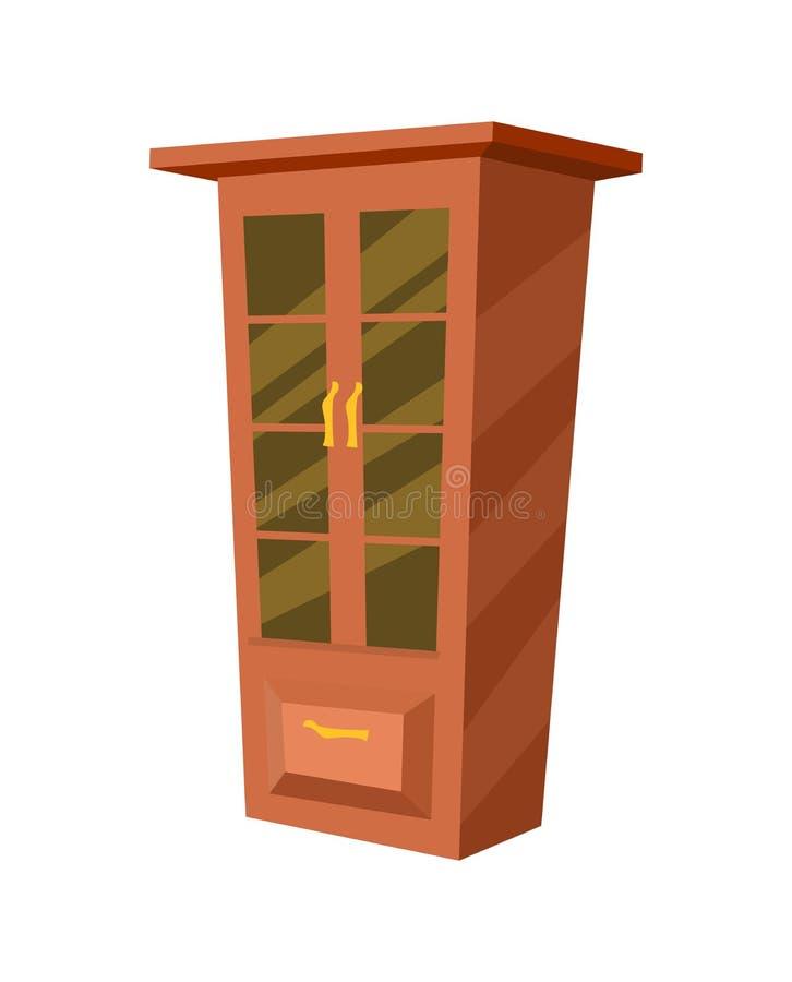 Icona isolata guardaroba di legno illustrazione vettoriale