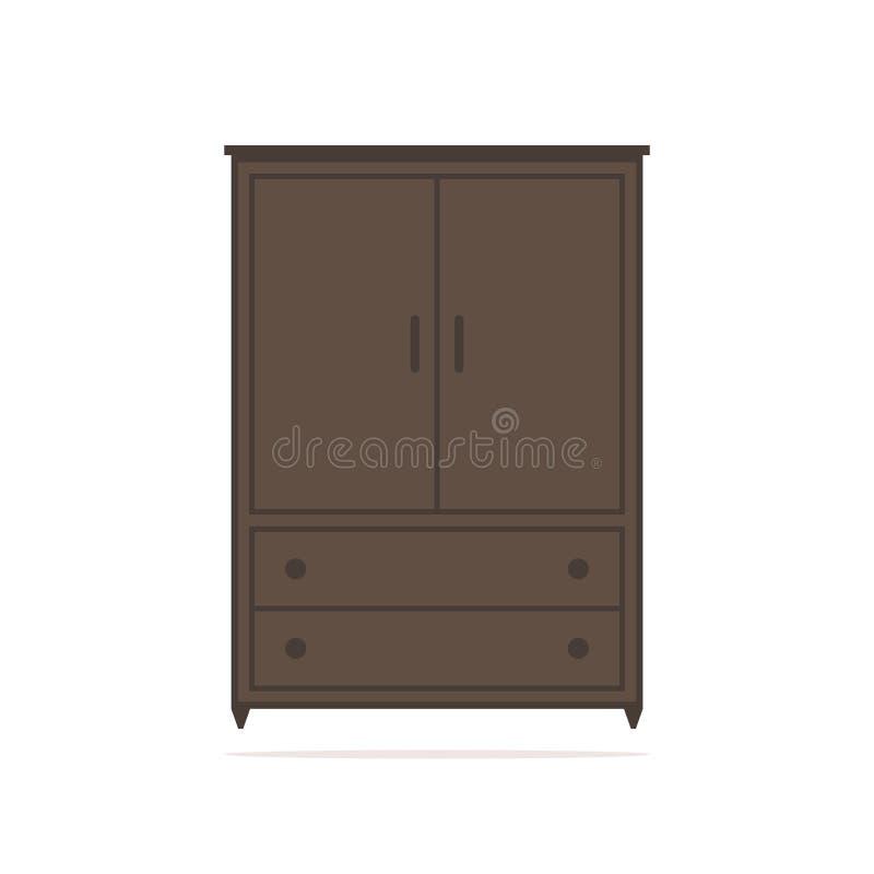 Icona isolata guardaroba Guardaroba di Brown su fondo bianco illustrazione di stock