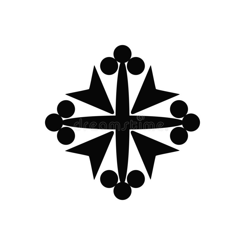 Icona isolata il nero di vettore di un incrocio cristiano del bello cavaliere medievale royalty illustrazione gratis