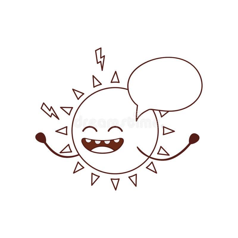 Icona isolata kawaii del sole radiante royalty illustrazione gratis