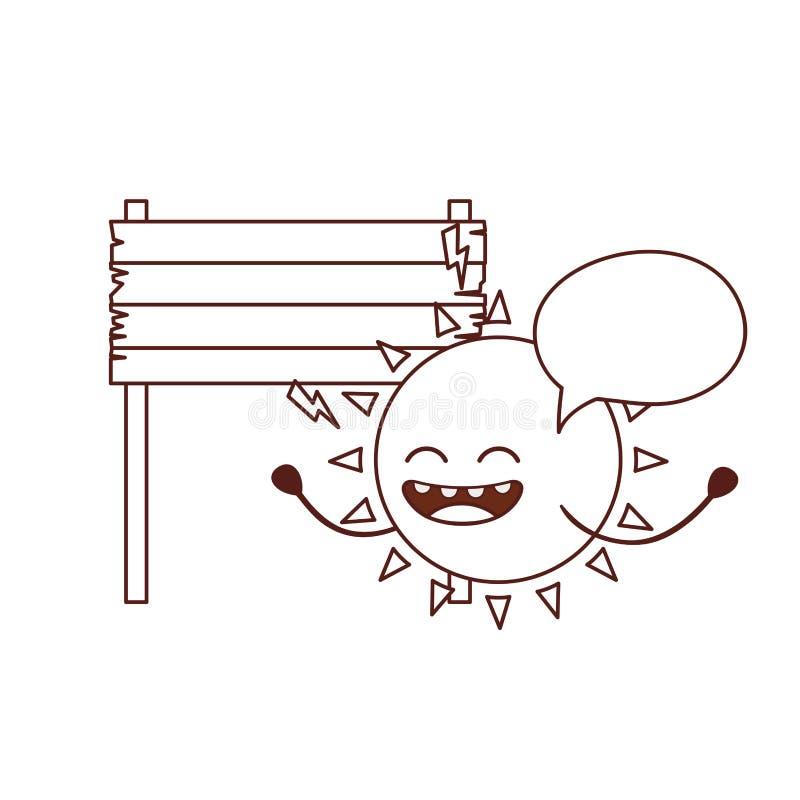 Icona isolata kawaii del sole radiante illustrazione vettoriale