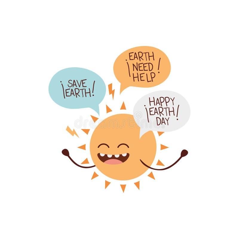 Icona isolata kawaii del sole radiante illustrazione di stock