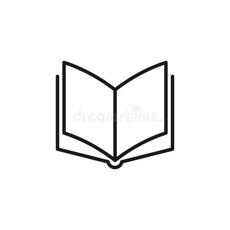 Icona isolata nera del profilo del libro aperto su fondo bianco Linea icona di libro royalty illustrazione gratis