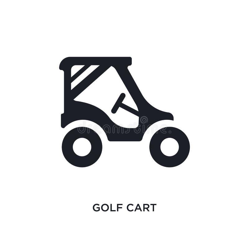 icona isolata nera di vettore del carretto di golf illustrazione semplice dell'elemento dalle icone di vettore di concetto di tra illustrazione vettoriale