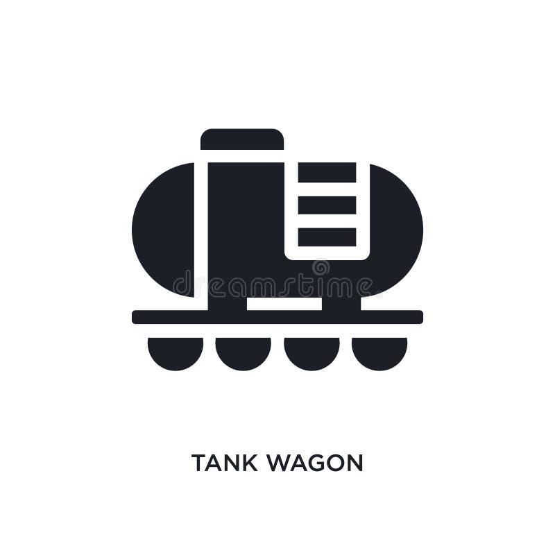 icona isolata nera di vettore del vagone di carro armato illustrazione semplice dell'elemento dalle icone di vettore di concetto  illustrazione di stock