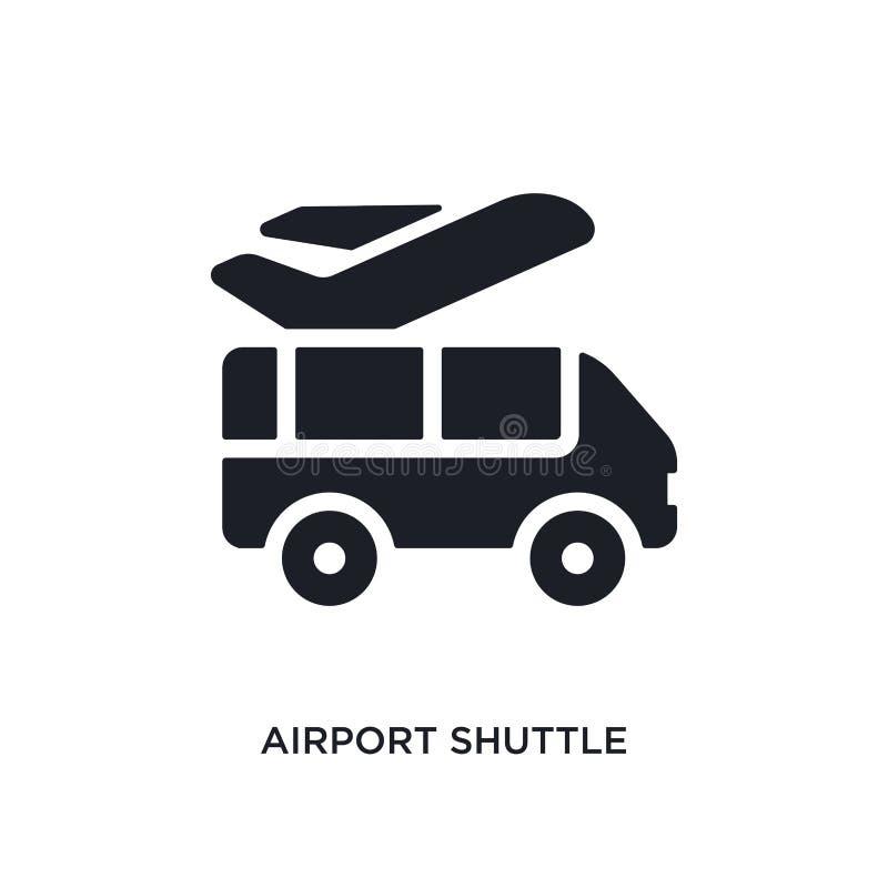 icona isolata nera di vettore della navetta di aeroporto illustrazione semplice dell'elemento dalle icone di vettore di concetto  royalty illustrazione gratis