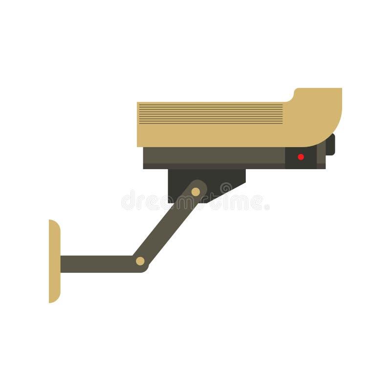 Icona isolata piano di vettore della videosorveglianza royalty illustrazione gratis