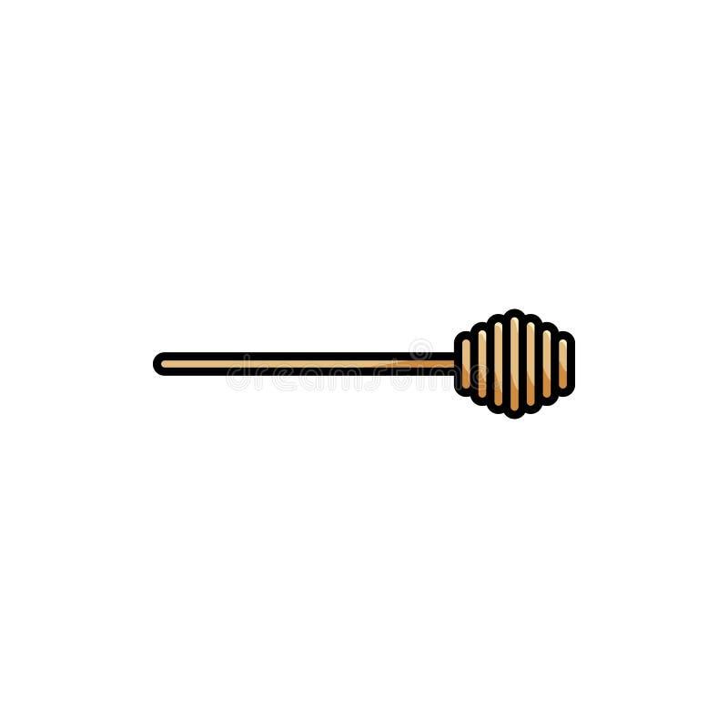 Icona isolata variopinta piana di vettore del merlo acquaiolo del miele royalty illustrazione gratis