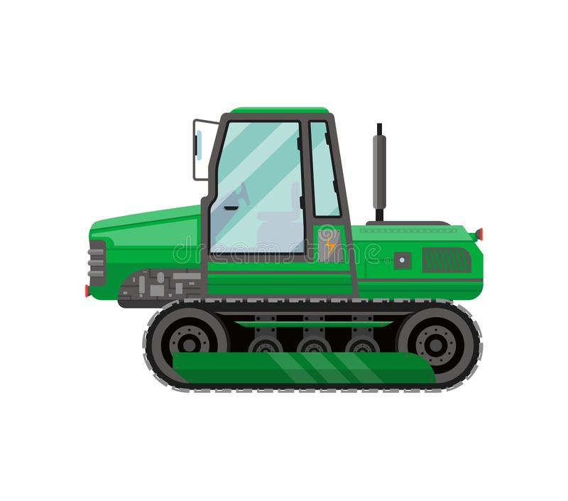 Icona isolata verde del trattore a cingoli illustrazione vettoriale