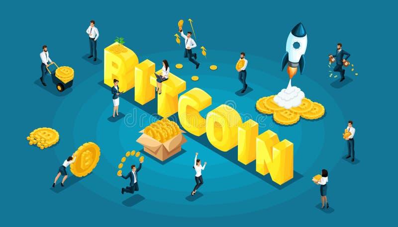 Icona isometrica con il concetto del blockchain di ico, estrazione mineraria di cryptocurrency, illustrazione startup di vettore  royalty illustrazione gratis
