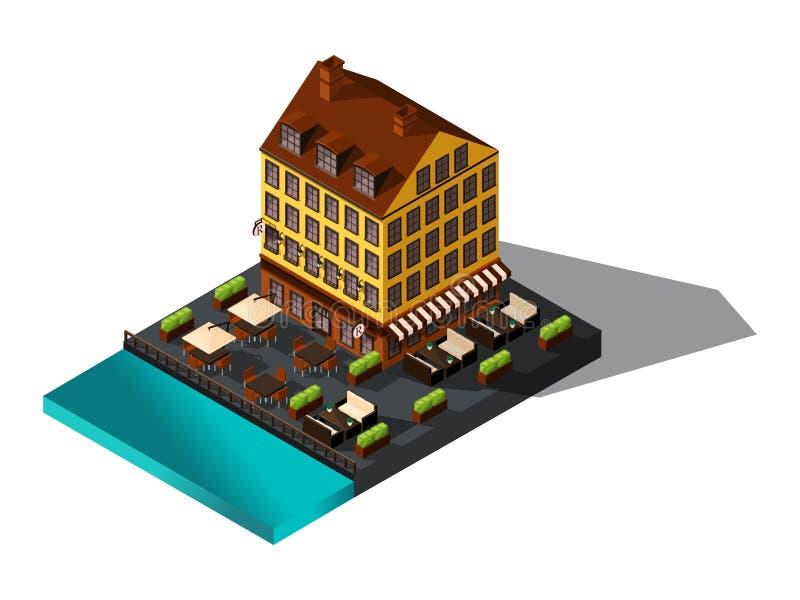 Icona isometrica, 3d casa dal mare, ristorante, Danimarca, Parigi, il centro storico della città, la vecchia costruzione royalty illustrazione gratis