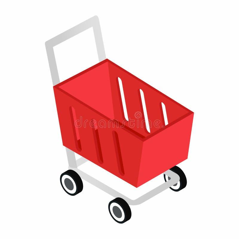Icona isometrica 3d del carrello rosso royalty illustrazione gratis