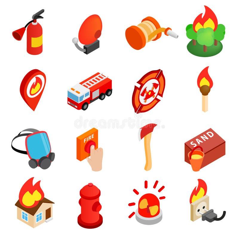 Icona isometrica 3d del pompiere illustrazione di stock