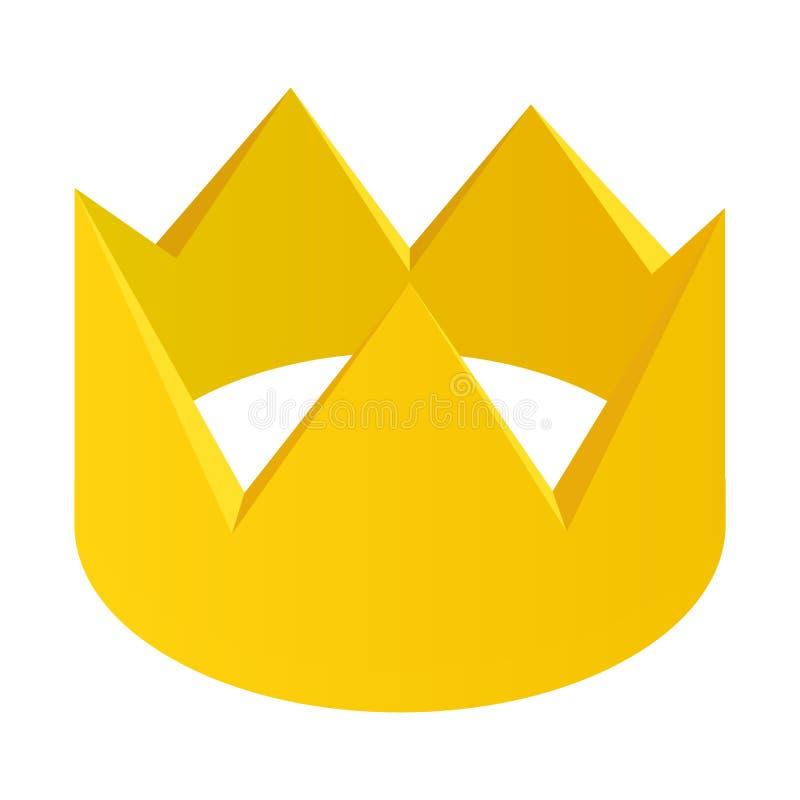 Icona isometrica 3d della corona dell'oro illustrazione vettoriale