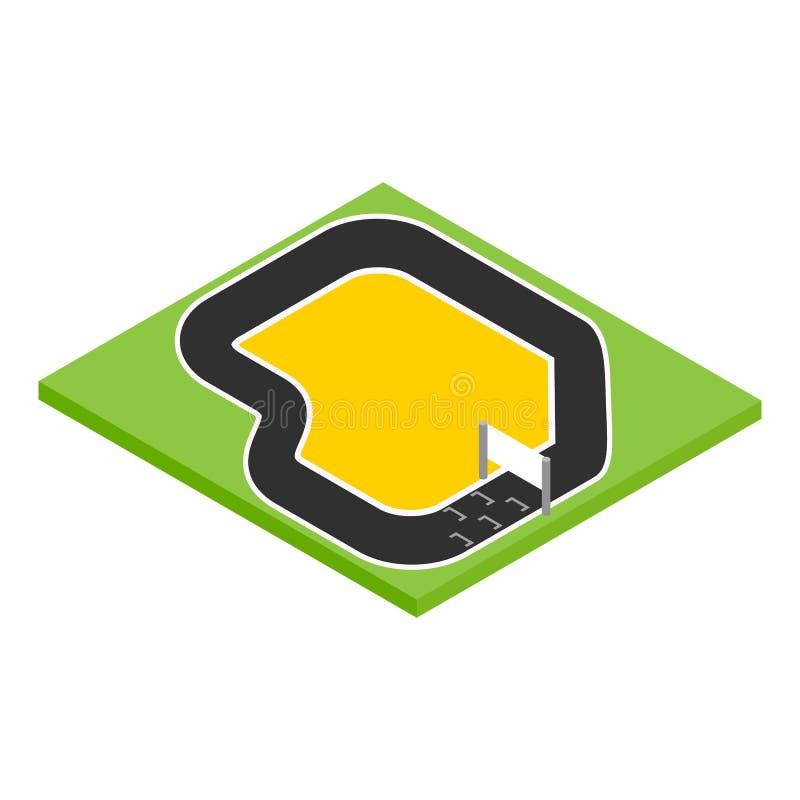 Icona isometrica 3d della gara motociclistica su pista illustrazione di stock