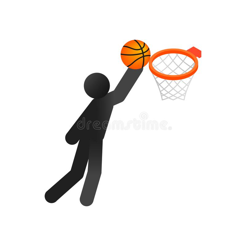 Icona isometrica 3d di pallacanestro illustrazione di stock