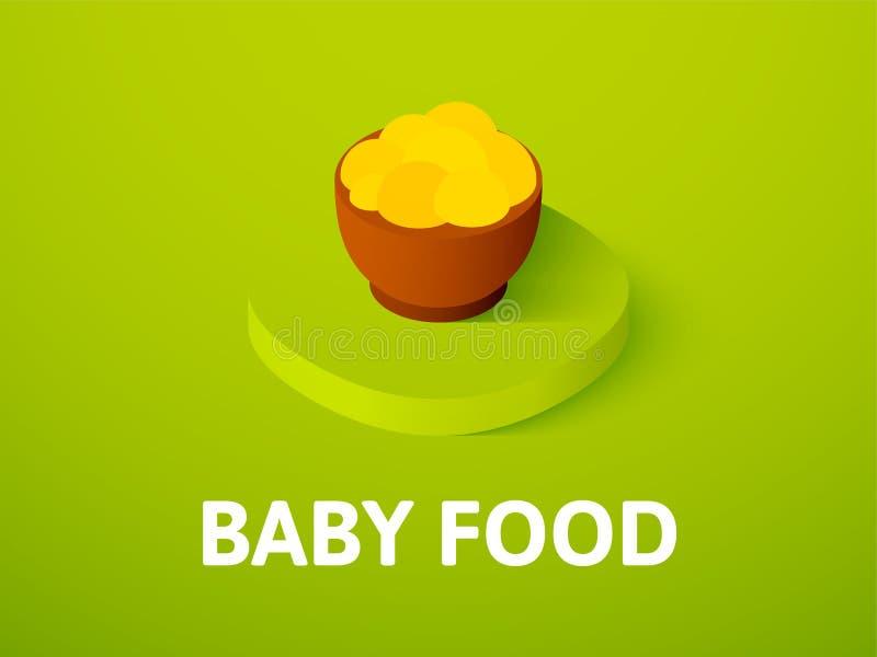 Icona isometrica degli alimenti per bambini, isolata sul fondo di colore royalty illustrazione gratis