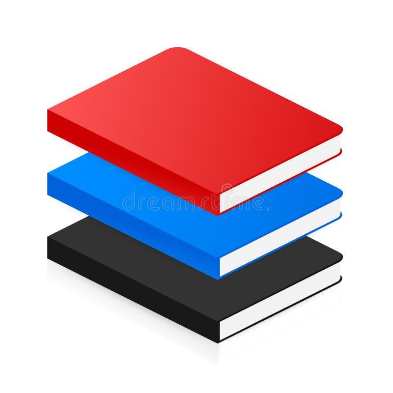 Icona isometrica del libro nello stile piano Illustrazione di vettore illustrazione di stock